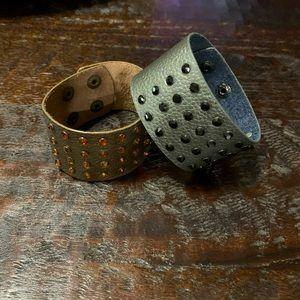 Gray leather cuff bracelet with black rhinestones
